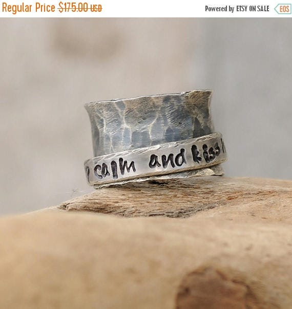 ON SALE Personalized Ring - Sterling Silver Personalized Spinner Ring