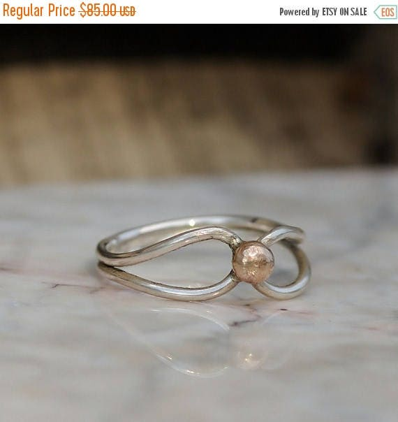 ON SALE Bohohemian Ring - Silver and Gold Ring - Sterling Silver and 14K Gold Ring - Boho Ring