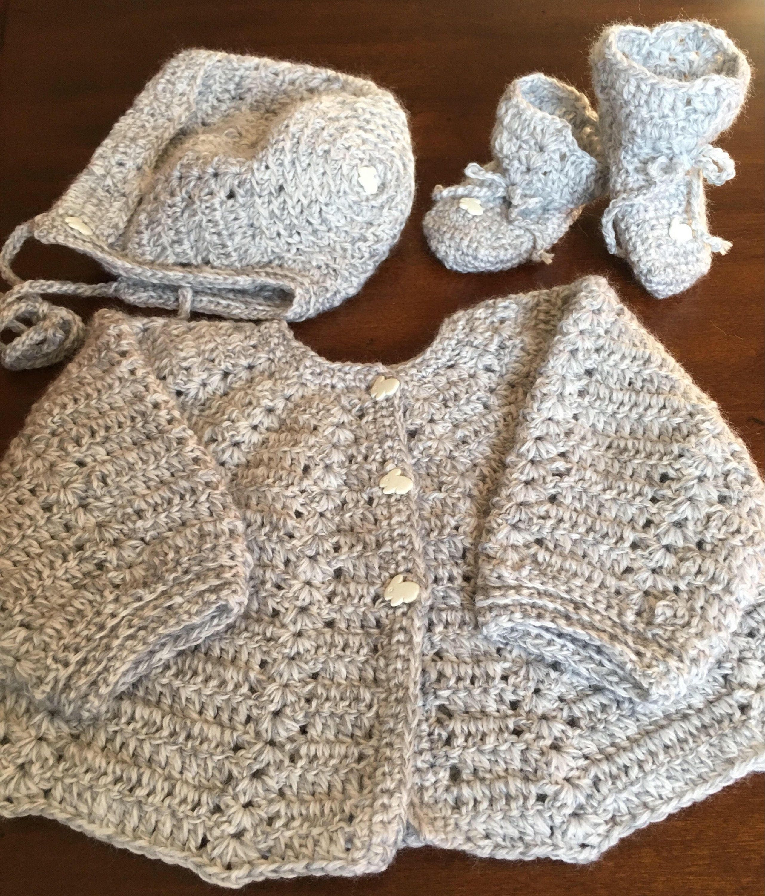 Hand crochet baby boygirl coming home outfitlight gray cardigan hand crochet baby boygirl coming home outfitlight gray cardigan sweater setsoft quality yarn 3 sizesbaby showercustom mademany colors bankloansurffo Images