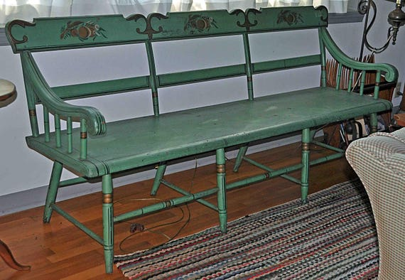 "Antique Long Sheraton Deacon's Bench Original Green Paint and Decoration, Long Plank Seat, 72""Long x 35 1/4"" high x 19 1/4"" deep C 1890-1910"