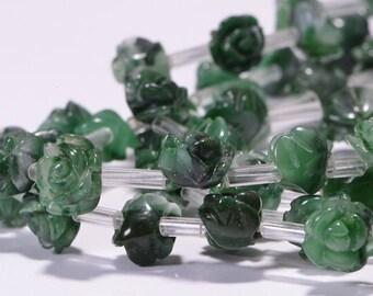 Jade 10 mm 6 Beads Rose Carved Beads Jade Rose Jade Flower Beads Jewelry make supplies