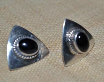Vintage Native American Jewelry Nakai sterling silver Pierced Earrings Southwestern Black Onyx earrings Indian Jewelry