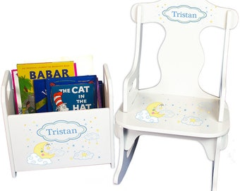 Personalized Puzzle Rocker and Book Caddy set with Moon and Stars Design-rknrd-243