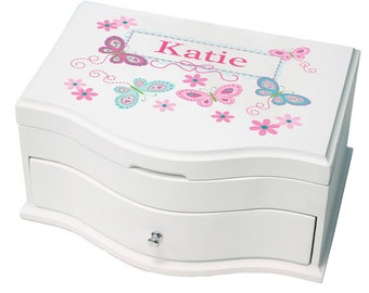 Personalized Deluxe Musical Jewelry Box with Aqua Butterflies Design-jewef-300c