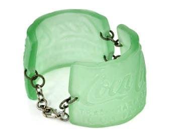 Vintage Coca Cola Bottle Bracelet, Artisan Jewelry - Green Upcycled Repurposed Coke Found Object Handmade Gift