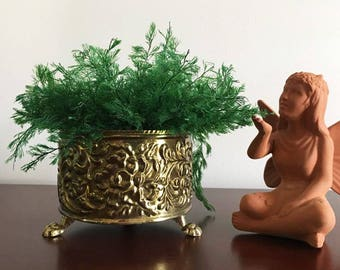 Mid Century Hollywood Regency Embossed Small Brass Footed Planter