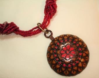 Beaded Pendant Necklace- Vintage Carved Wood Medallion - Red Glass Bead Chain - One of a Kind Upcycled Jewelry