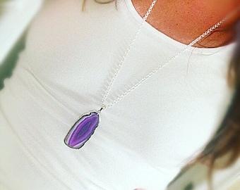 Purple Agate Slice Pendant Necklace
