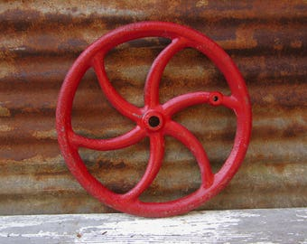 Vintage Home Decor HUGE Metal Farm Wheel Machinery Red Solid Metal Industrial Wall Art Decor Possible Table Base or Lamp Parts Heavy Iron