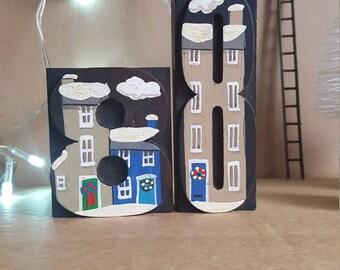Christmas Decoration - heirloom Christmas keepsake - Snowy scene - Christmas house - Letter press blocks - House Warming gift - gift for her