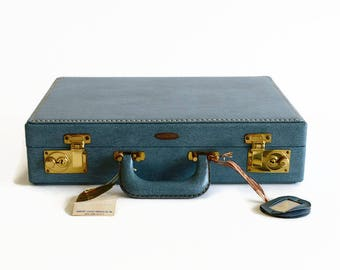 vintage blue briefcase attache laptop fitted case 1960s Shortrip New York travel small suitcase luggage