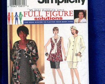 Simplicity 9121 Flared Top & Slim Skirt Pattern Size 26W to 32W UNCUT