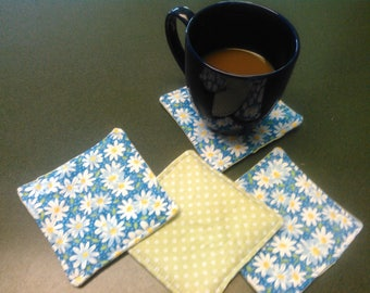 Set of 4 Daisy and Green Checkered Fabric Coasters