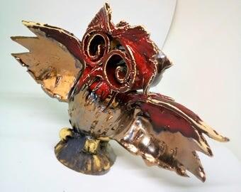 Owl art, nome decor , ceramic sculpture, , fan art. Symbol of wisdom.