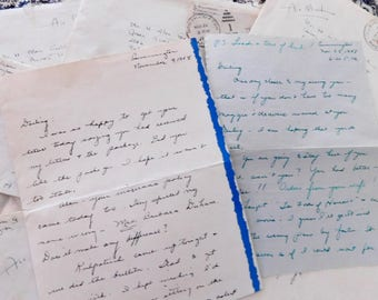 Vintage Love Letters, Late 40s-50s, Handwritten Love Letters to Solider,  Set of Four