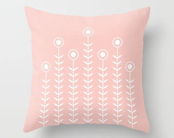 36 colours, Rose Quartz, Minimalist Flowers Decorative Pillow, Pink, Nordic Scandinavian style, Faux Down Insert, Indoor or Outdoor cover