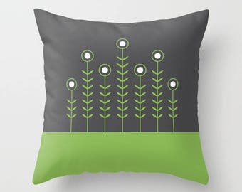 27 colours, Greenery, CHARCOAL background, SPRING SHOOTS, Green Minimalist Flowers pillow, Nordic, Faux Down Insert, Indoor or Outdoor cover