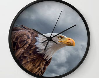 Bald Eagle Wall Clock, Eagle, Moody Sky Clock, Bird Clouds wall clock, Wild Animal Decor, Designer Wall Clock, Nature Decor