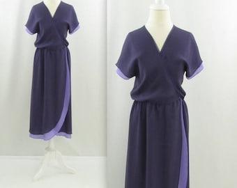 SALE Dark Amethsyt Wrap Dress - Vintage 1970s Chiffon Dress in by Missy House