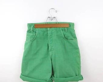 SALE Jade Green High Waisted Denim Shorts - Vintage 1980s Jean Shorts in Small