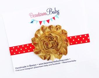 Red Newborn Headband.  Red Baby Headband,  Red and Gold Baby Headband.