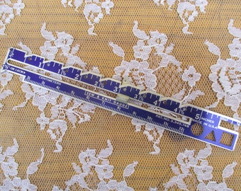 Vintage Metal Sew and Knit Gauge Ruler Inches and Centimeters Made in USA  Slide Guide