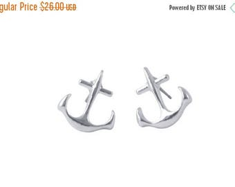 75% off Sale nautical ANCHOR studs, Inspire yourself, friendship gift, sorority sister, ocean, sailing, Humane Society donation