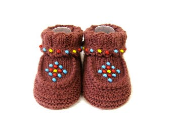 Knitted Brown Beaded Moccasin Booties