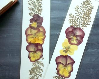 HANDMADE BOOKMARKS - Set of 2 Natural Pressed Flower Bookmarks, Pressed Flower Art Collage Pansy Flowers, Purple and Yellow Pansies
