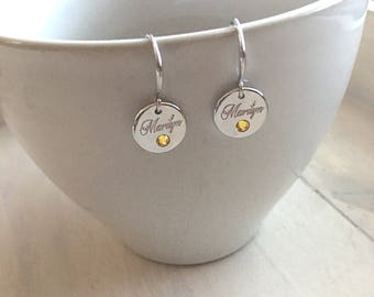 FREE Gift Wrapping-Name Earrings -Personalized Earrings -Birthstone Earrings -Bridesmaids Gift - Wedding Gift - Birthday Gift - Gift For Her