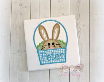 Boys Easter shirt - 1st Easter shirt - boy bunny in Easter basket shirt - peeking bunny in basket - blue gingham Easter basket shirt for boy