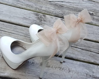 Shoe Clips, Wedding Shoe Clips, Bridal Shoe Clips, Organza Shoe Clips, Bridal Accessories Champagne Shoe CLips, Shoe Clips Only Bow Clips