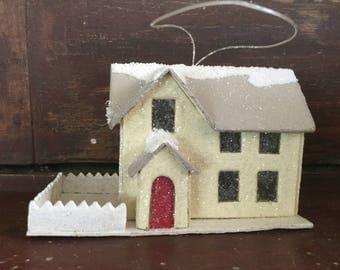 Vintage Cardboard Christmas House Ornament / Putz Style