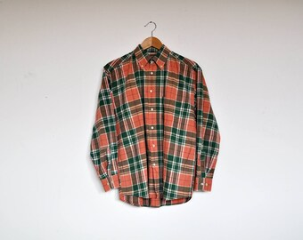Vintage Cotton Salmon Pink and Green Plaid Button Down Long Sleeve Oxford Shirt