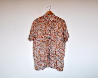 Vintage Sheer Oversized Pastel Floral Blouse Short Sleeved Top Button Down Shirt