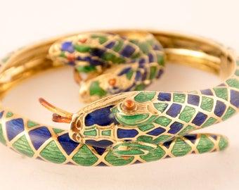 18K Yellow Gold Enamel Snake Bracelet and Ring Set