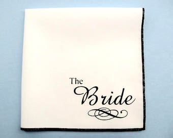 Hankie- WEDDING BRIDE shown on super soft white cotton hanky-or choose from any solid color or plaids shown in pics