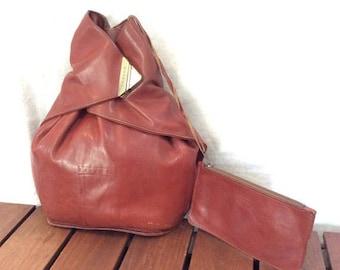 15% OFF3DAYSALE Vintage Genuine Texier Backpack Tan Leather Backpack Bag Made in France