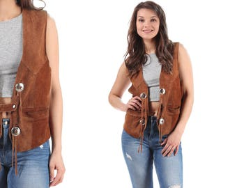Brown Suede VEST 70s Vintage Western Thick Beige Motorcycle Biker Rocker Punk Sleeveless Choncho Jacket 1980s Western Style Unisex  Medium