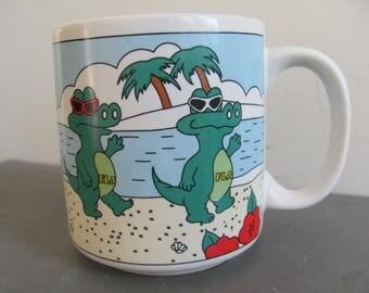 Vintage 80s/90s Florida Alligator Gators On The Beach Cartoonish Gators FLA Mug Coffee Mug Cup  Hibiscus, Lifeguard Tourist Souvenir Kitschy