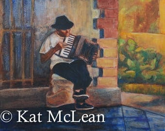 Gouache and Acrylic Painting - The Accordion Player - Canvas Print