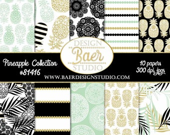 Pineapple Digital Paper:Digital Scrapbook Paper, Digital Paper Pack, Wedding Digital Paper, Gold Pineapple Paper, Mint Pineapple Paper