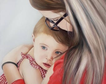 CUSTOM PORRAIT - Personalized Art from Photo - Baby Portrait - Custom Oil Painting - Amazing Gift Idea