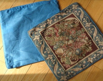 2 Vintage Matching Machine Woven Tapestry Pillow Cushions in deep jewel tone color palette in Mint Condition which have never been used
