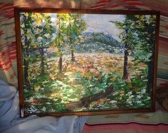 Original Oil on Canvas Landscape Painting signed by The Artist Kris Kreml in Very Good Vintage Condition, An Impressionist Style work of Art