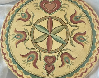 Hex Flower and Hearts Handpainted Wooden Trivet Round Wall Hanging Signed