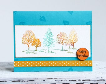 Watercolor Trees Greeting Card, Grove of Trees in Autumn Colors, Handmade Watercolor Notecard, Teal And Orange Birthday Card, Happy Birthday