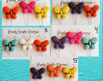 Butterfly Decorative Sewing Pins, Butterfly Pincushion Pins, Fancy Butterflies, Scrapbook Embellishments,  Your Choice - Set of 3