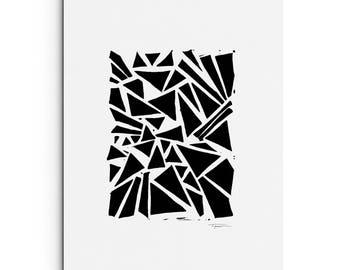 A Mix of Triangles - Modern Art - Geometric Art - Wall Art - Linocut Block Print - Original or Digital Print