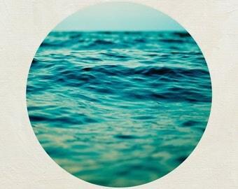 Modern Ocean Canvas Wrap, Ready to Hang Coastal Art, Aqua Bathroom Decor, Minimalist Nature Artwork, Water Picture